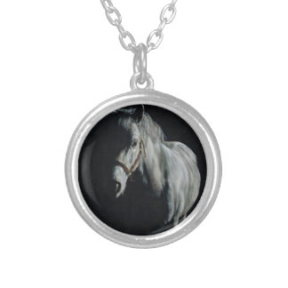 The Silver Horse in the shadows Silver Plated Necklace