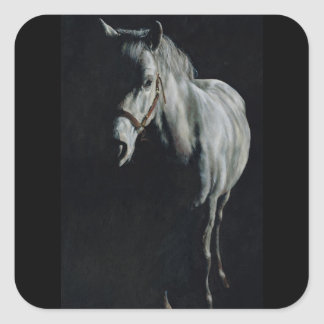 The Silver Horse in the shadows Square Sticker