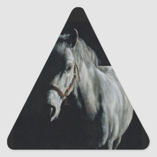 The Silver Horse in the shadows Triangle Sticker