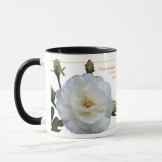 The simplicity of the white roses makes elegance mug
