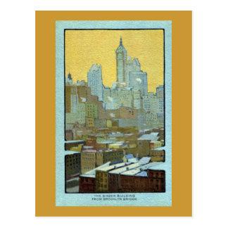 The Singer Building From Brooklyn Bridge Postcard