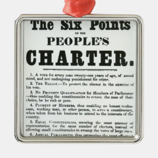 The Six Points of the People's Charter Silver-Colored Square Ornament