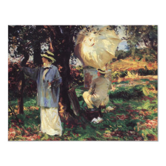"The Sketchers by Sargent, Vintage Victorian Art 4.25"" X 5.5"" Invitation Card"