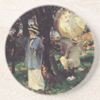 The Sketchers by Sargent, Vintage Victorian Art Coasters