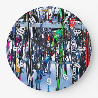 The Ski Party - Skis and Poles Large Clock