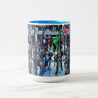 The Ski Party - Skis and Poles Two-Tone Coffee Mug