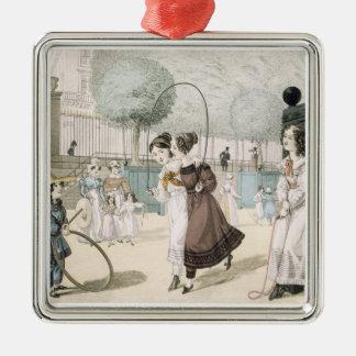 The Skipping Game, plate 115 from 'Le Bon Genre', Silver-Colored Square Ornament