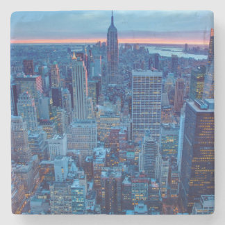 The skyscrapers of Manhattan are lit Stone Beverage Coaster