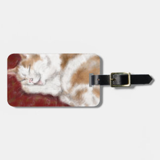 The sleeping cat luggage tag