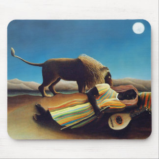 """The Sleeping Gypsy"" by Henri Rousseau Mouse Pad"