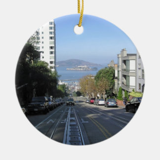The sloping streets of San Francisco Round Ceramic Ornament