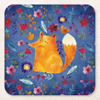 The Smart Fox in Flower Garden Square Paper Coaster