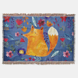 The Smart Fox in Flower Garden Throw Blanket