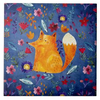 The Smart Fox in Flower Garden Tile
