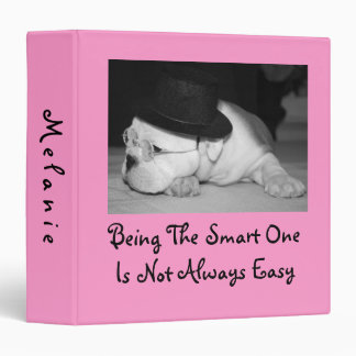 """The Smart One""...English Bulldog Puppy (Pink) Vinyl Binder"