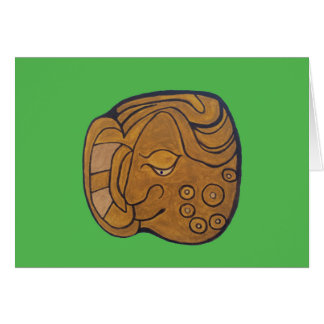 THE SMILING MAYAN MEDALLION- LIME GREEN CARD