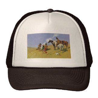 The Smoke Signal by Frederic Remington Trucker Hat