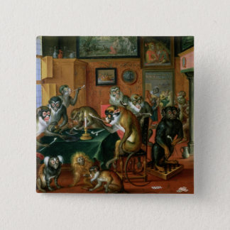 The Smoking Room with Monkeys 2 Inch Square Button