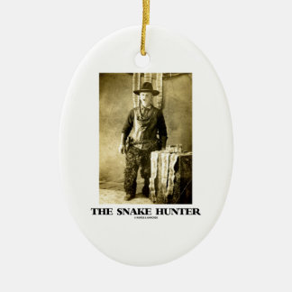 The Snake Hunter (Vintage Photo Snake Skins) Ceramic Ornament