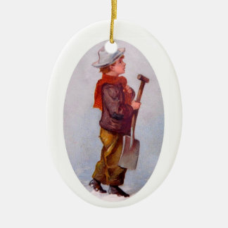 The Snow Shoveler Ceramic Ornament
