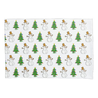 the snowman and the xmas tree pillowcase