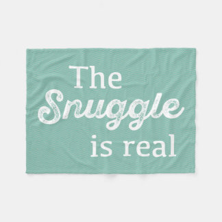 The Snuggle Is Real Teal Chevron Funny Fleece Blanket