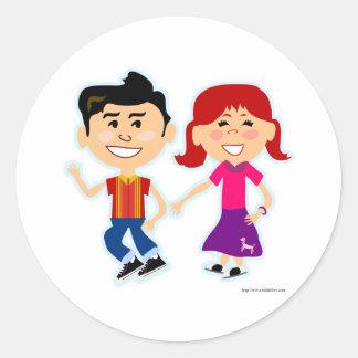 The Sock Hop Kids Round Sticker