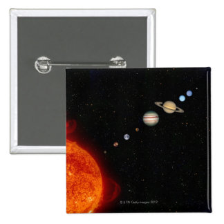 The Solar System 2 2 Inch Square Button