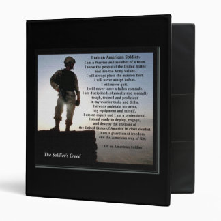 The Soldier's Creed Military Custom Text on Back Vinyl Binder