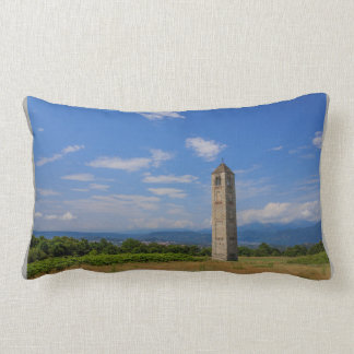 The solitary medieval bell tower on lumbar pillow