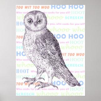 "The Sounds Owls Make! ""Owl Calls"" - Unique Poster"