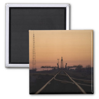 The Soyuz launch pad Square Magnet