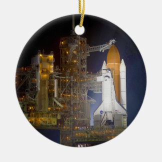 The Space Shuttle Discovery at Launch Pad 39A Round Ceramic Ornament