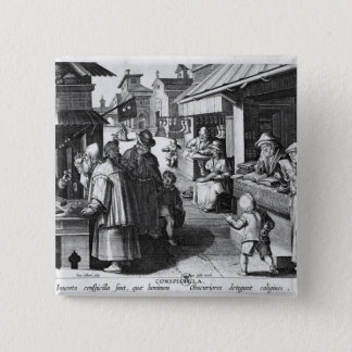 The Spectacles Seller, engraved by Jan Collaert 2 Inch Square Button