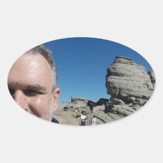 The Sphinx, Bucegi Mountains, Romania (design #2) Oval Sticker