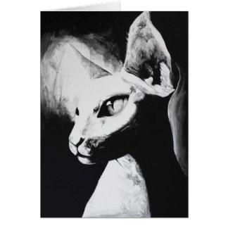 The Sphynx Cat Feline Original Art Greeting Card