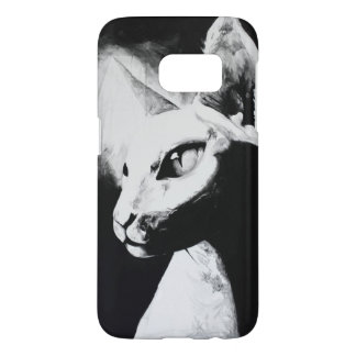 The Sphynx Cat Hairless Kitty Pet Black White Art Samsung Galaxy S7 Case