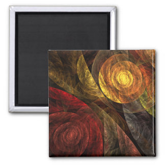 The Spiral of Life Abstract Art Square Magnet