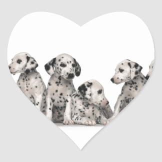 THE SPOTTED LINE -CUTE DALMATIANS HEART STICKER