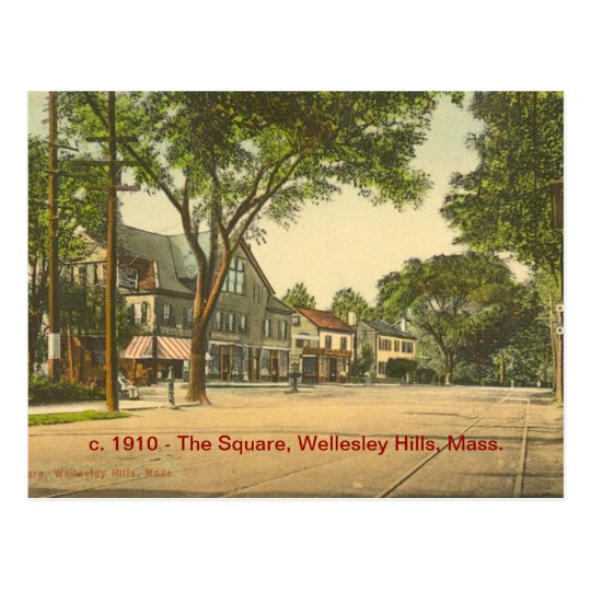 The Square, Wellesley Hills, Mass Postcard