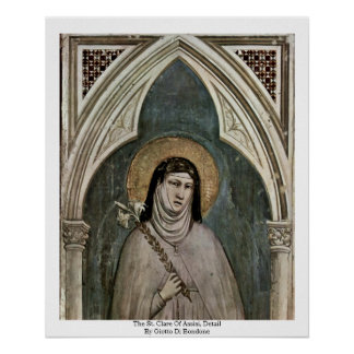 The St. Clare Of AssisiDetail By Giotto Di Bondone Poster