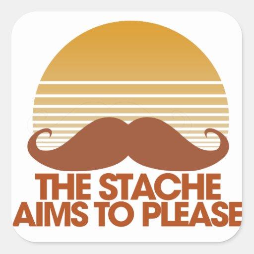 The Stache Aims to Please Square Sticker