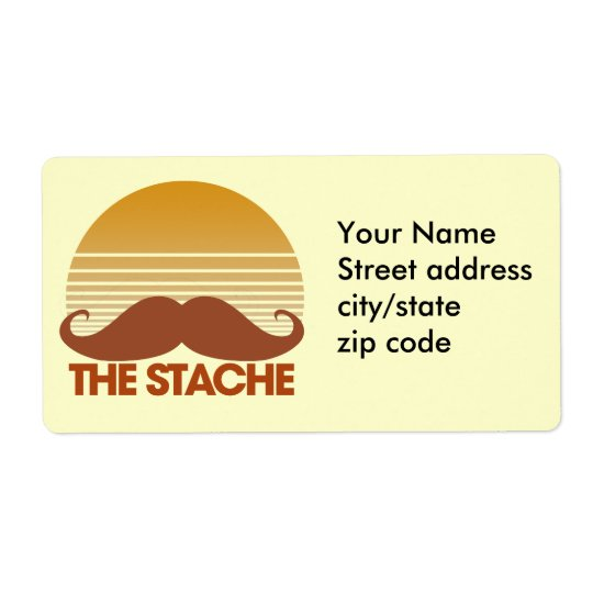 The Stache Retro Design Shipping Label