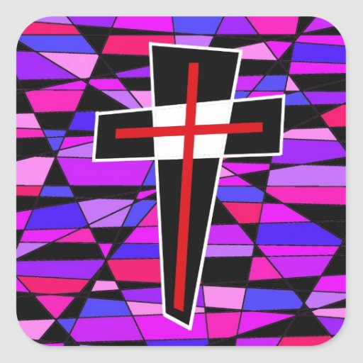 The Stained Glass Cross. Square Stickers