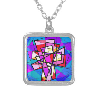 The Stained Glass Crucifix. Silver Plated Necklace