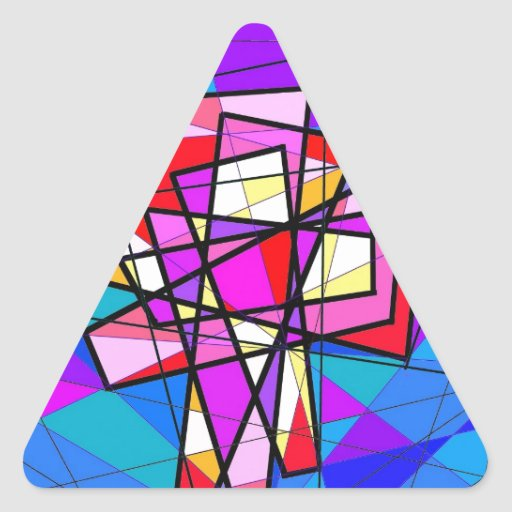 The Stained Glass Crucifix. Triangle Stickers