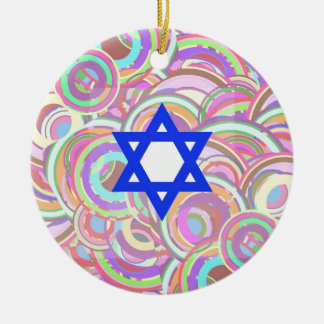 The Star and The Circles. Round Ceramic Ornament