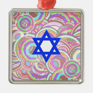 The Star and The Circles. Silver-Colored Square Ornament