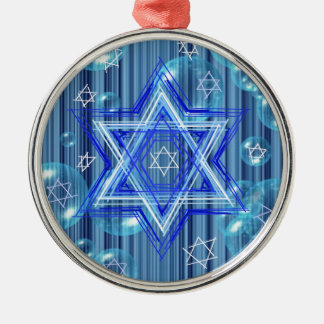 The Star of David and the bubbles. Silver-Colored Round Ornament