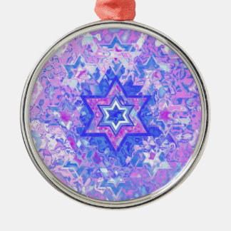 The Star of David... on marble. Silver-Colored Round Ornament